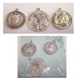 Card 3 charms- antique coins