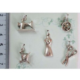 Set of 5 charms sewing antique silver