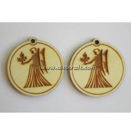Wooden earring base set. 2 pcs Horoscope