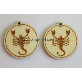 Wooden earring base set. 2 pcs Horoscope