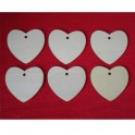 Wooden label Heart set 6 pcs