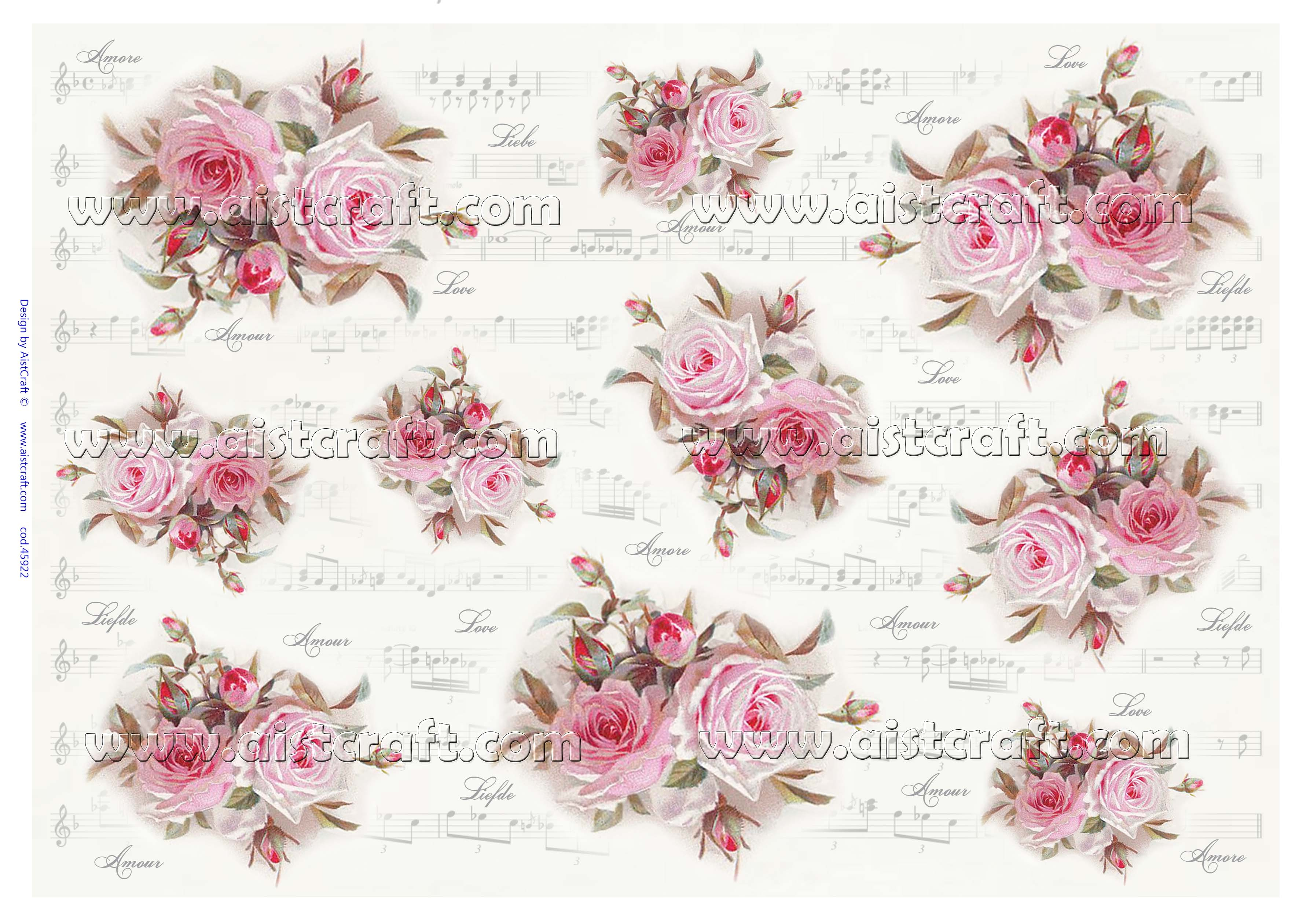 Rice paper for decoupage Rose \u0026 Notes