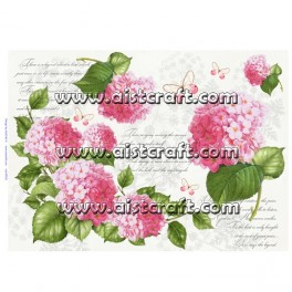 Rice paper for decoupage Hydrangea Pink