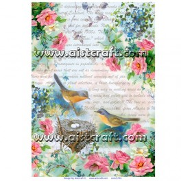 Rice paper for decoupage Spring Birds