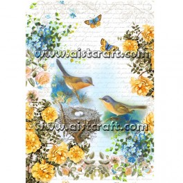 Rice paper for decoupage Birds & Roses